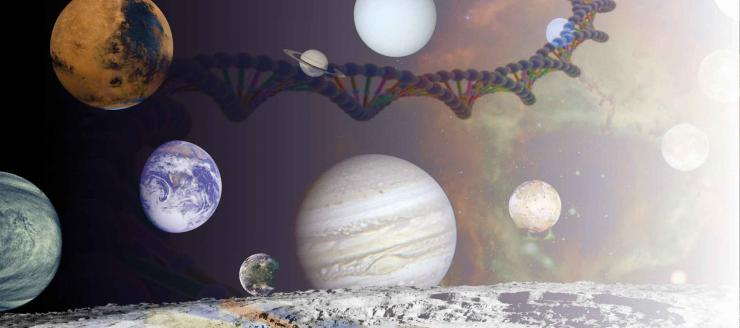 planets, dna strand